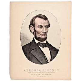 1865 Abraham Lincoln Handcolored Print by Kimmel