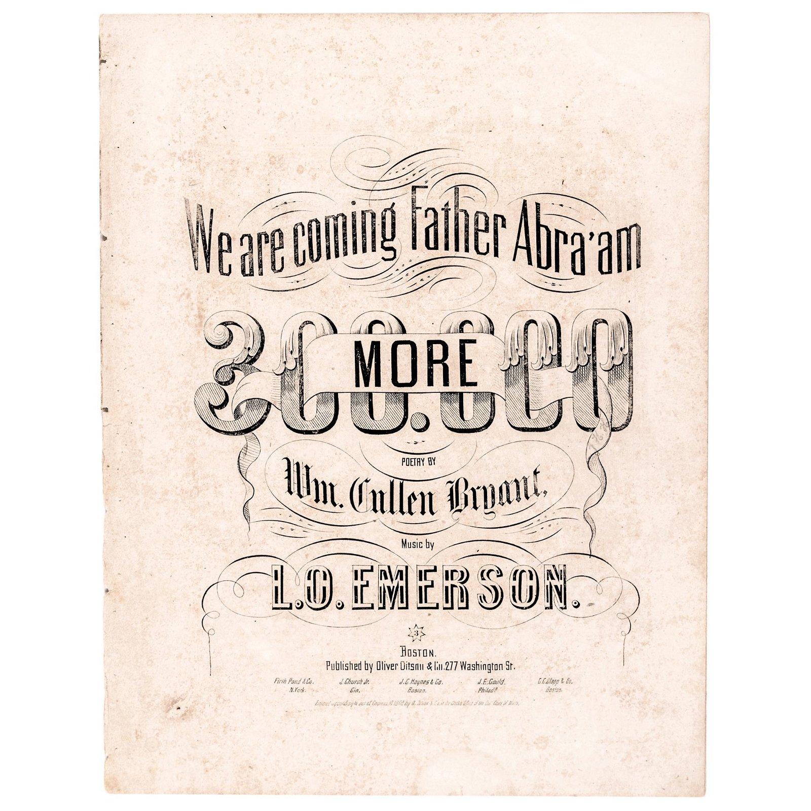 1862 (Abraham Lincoln) Civil War Union Sheet Music
