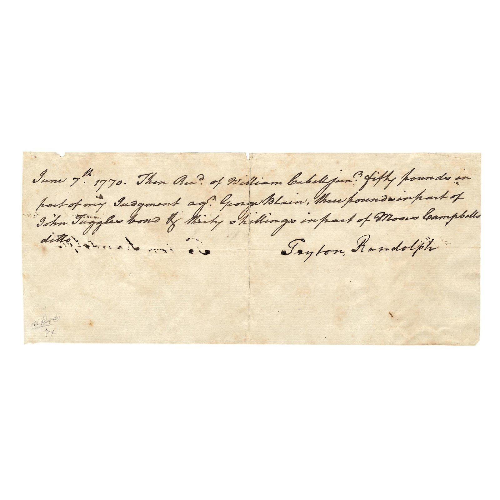 1770 PEYTON RANDOLPH Document Boldly Signed