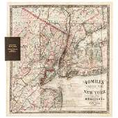 1867 Impressive Colorful Map of the New York Area