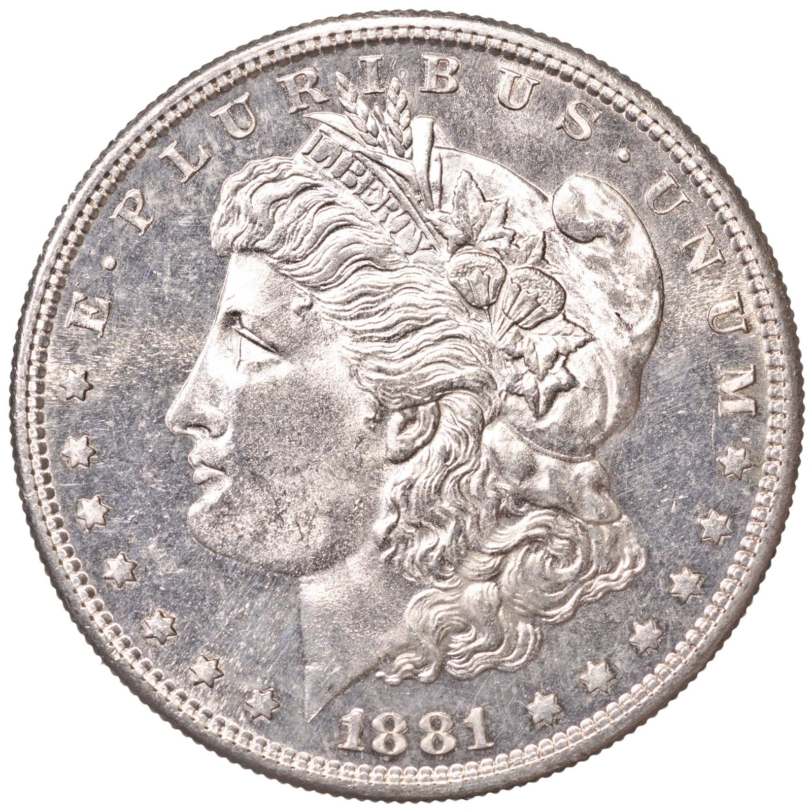 1881-S Morgan Silver Dollar, Brilliant, Prooflike