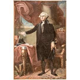 GEORGE WASHINGTON Oil on Canvas Painting a/Stuart