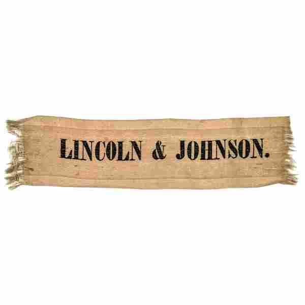 LINCOLN + JOHNSON 1864 Presidential Silk Ribbon