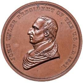 1841 John Tyler Bronze Indian Peace Medal NGC MS64