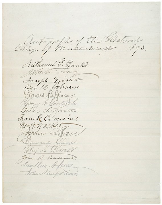 3008: NATHANIEL BANKS 1893 Autograph Document Signed
