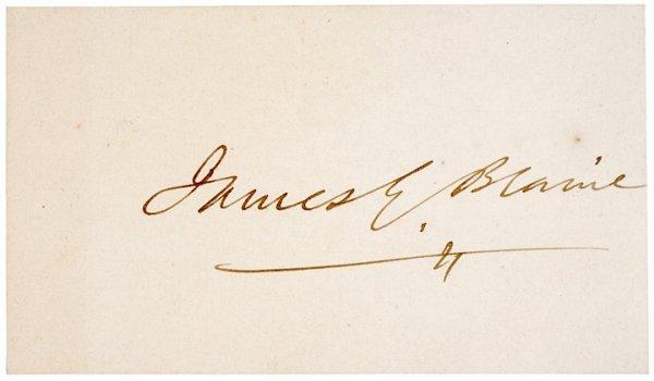 3009: JAMES G. BLAINE Signature Card