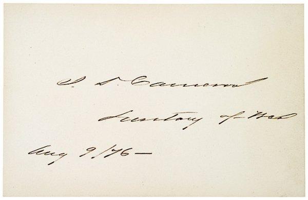 3014: JAMES D. CAMERON, 1876, Card Signed