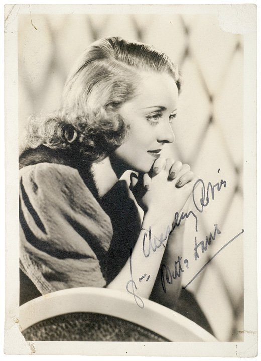 3021: BETTY DAVIS, Inscribed And Signed Photograph