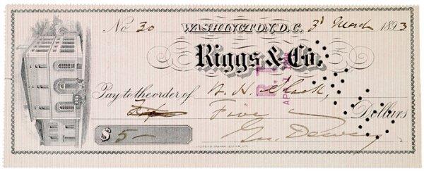 3024: GEORGE DEWEY, Check Signed, 1893
