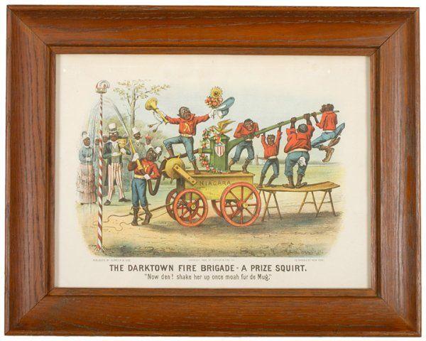 1885, Currier + Ives Print: Darktown Fire Brigade