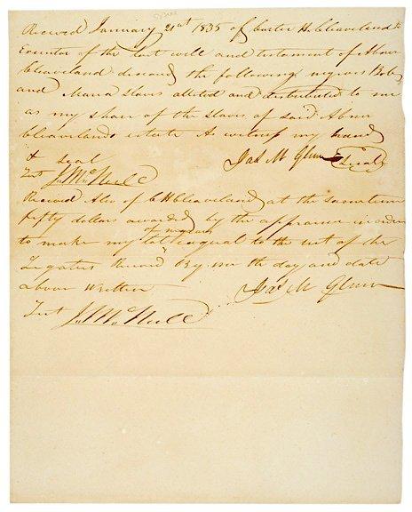 4001: 1835 Probate Document, Slave Receipt