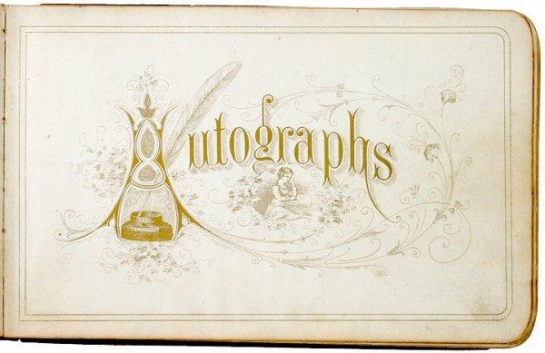 4002: 1877 Ornate Autograph Album w/ Original Art Work