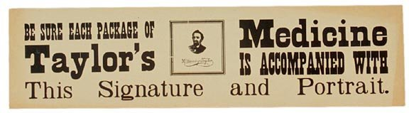 4013: Taylors Medicines Advertising Poster, c. 1870s