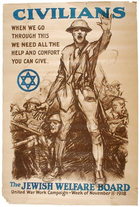 4017: Historic 1918 Jewish Welfare Board WW I Poster