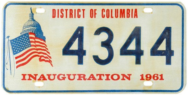 4057: JFK License Plate: INAUGURATION 1961