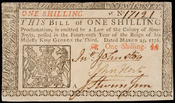 4: JOHN HART Signed One Shilling New Jersey Note
