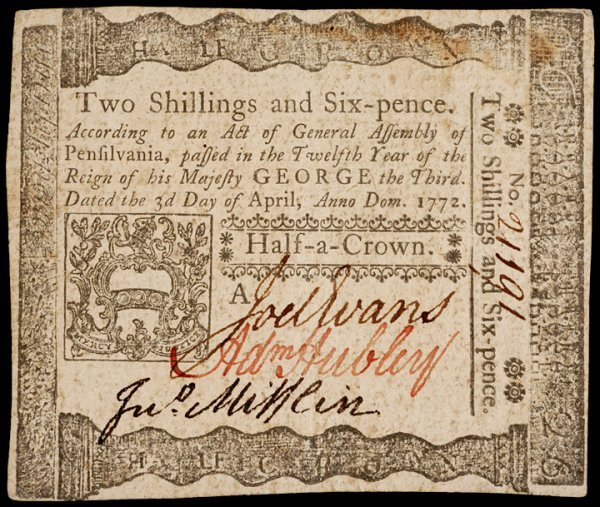 5: ADAM HUBLEY Signed PA Note, April 3, 1772