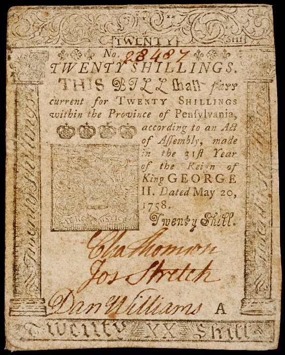 10: CHARLES THOMSON Signed Note, Printed B. FRANKLIN