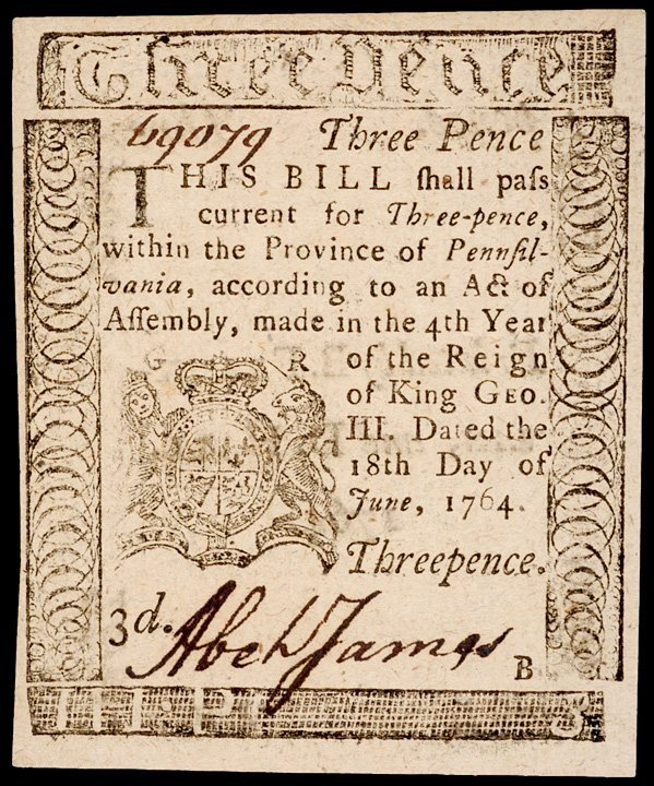 12: 1764 Printed by B. FRANKLIN 3 Pence Note