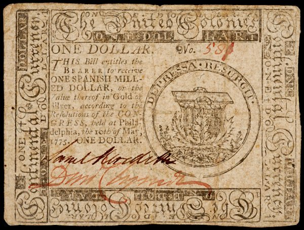 13: Colonial Currency, May 10, 1775, $1