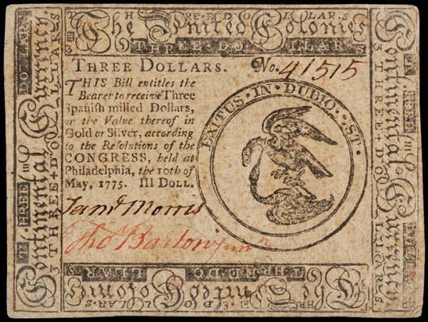 16: Colonial Currency, May 10, 1775, $3