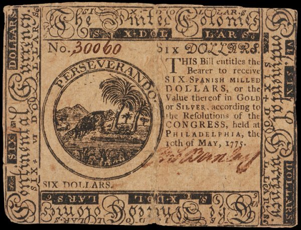 19: Colonial Currency, May 10, 1775, $6