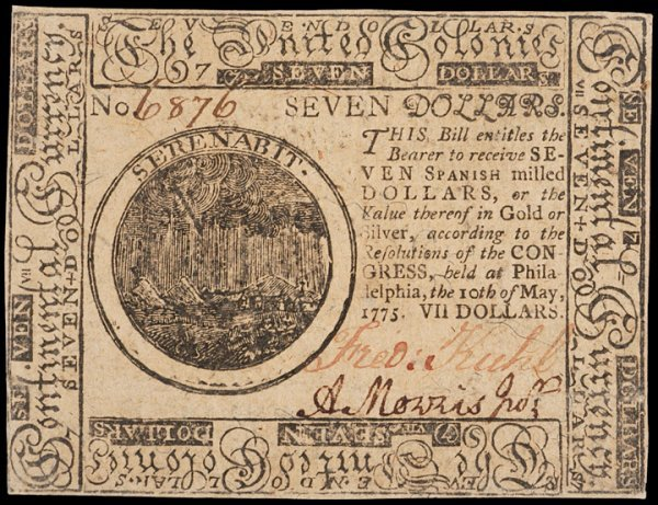 20: Colonial Currency, May 10, 1775, $7