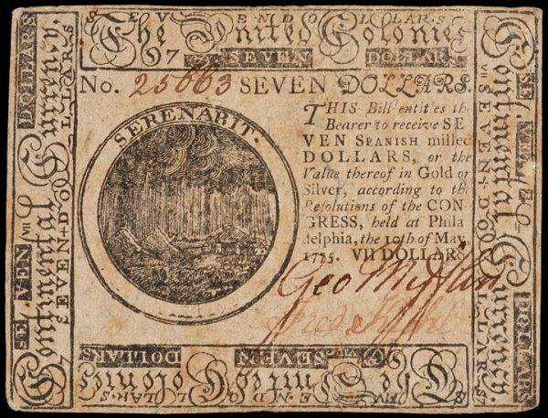 21: Colonial Currency, May 10, 1775, $7