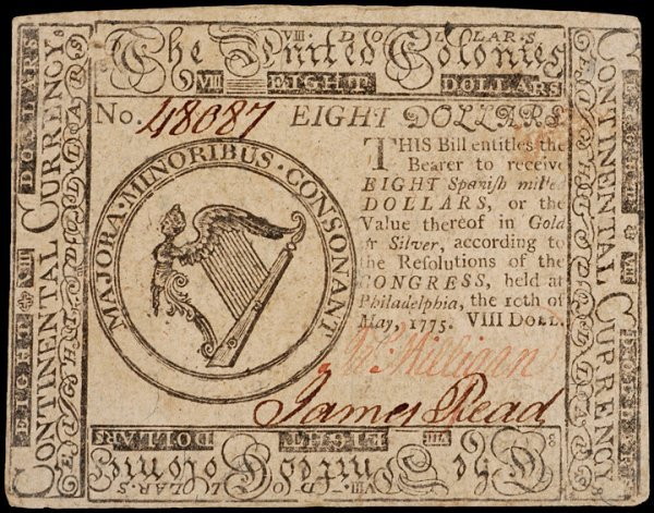 22: Colonial Currency, May 10, 1775, $8