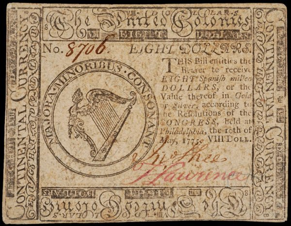 23: Colonial Currency, May 10, 1775, $8