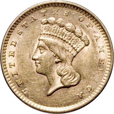 569: 1856 Indian Head $1 Gold. Slant 5. Type 3, Mint