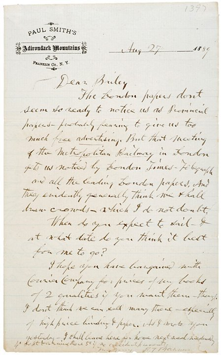 2007: PHINEAS T. BARNUM Autograph Letter Signed, 1889