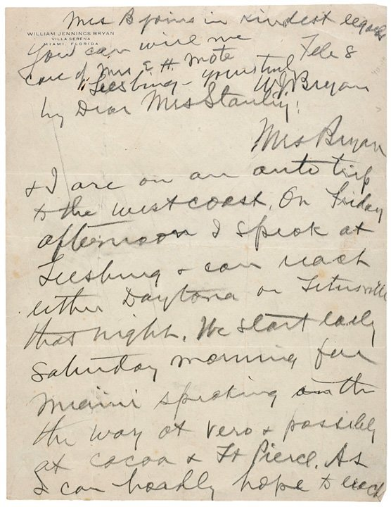 2019: WILLIAM JENNINGS BRYAN Autograph Letter Signed