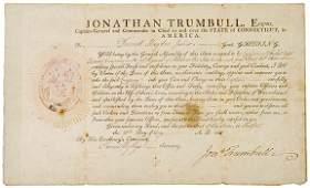 2186: Gov. JONATHAN TRUMBULL, Document Signed, 1805