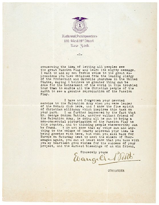 5010: EVANGELINE BOOTH Salvation Army Signed Letter