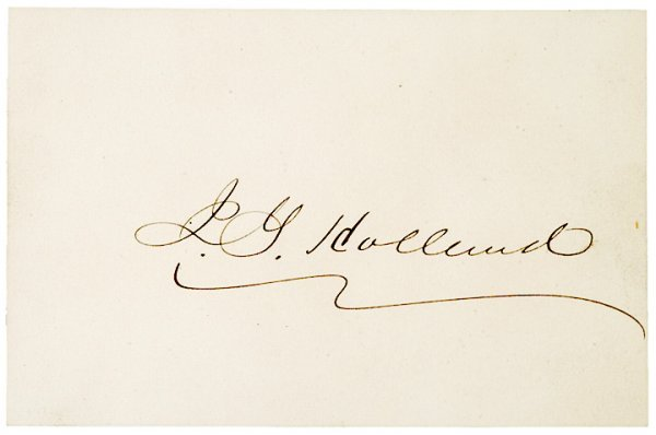 5023: JOSIAH GILBERT HOLLAND, Autograph and Envelope