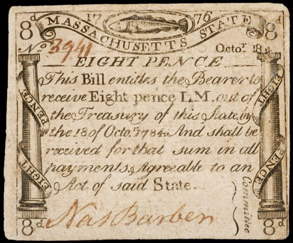 5428: Colonial Currency, MA, October 18, 1776, 8 pence