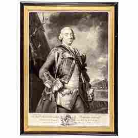 c. 1750 Mezzotint Engraved Print Robert Monckton