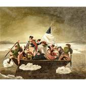 WASHINGTON CROSSING THE DELAWARE, Oil on Canvas