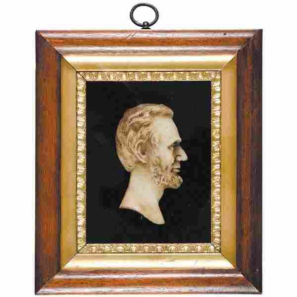 c. 1864 Civil War Era Abraham Lincoln Wax Profile
