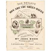 1863 Sheet Music titled HOW ARE YOU GREENBACKS