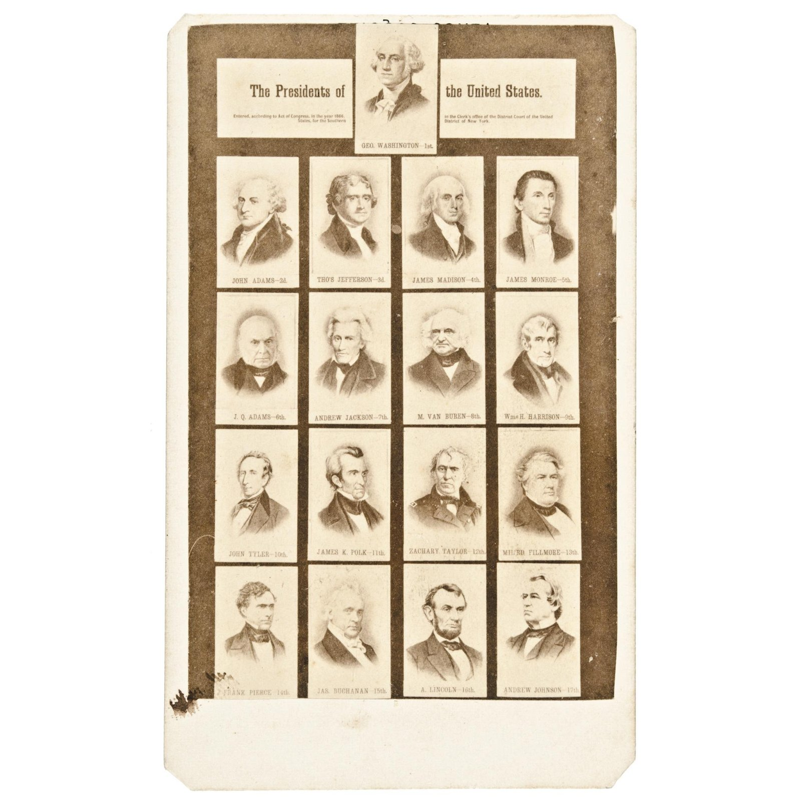1866 First 17 American Presidents Photo Collage
