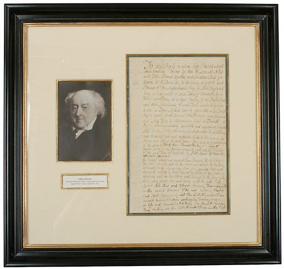 2001: JOHN ADAMS Four Times Signed Document