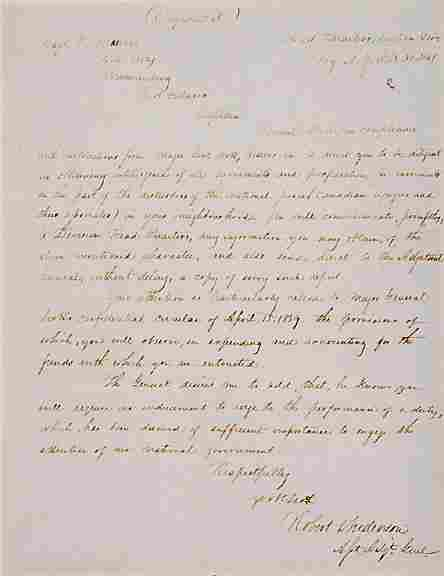 Robert Anderson Signed Letter 1841