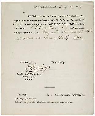 William Bainbridge Signed Document, 1824