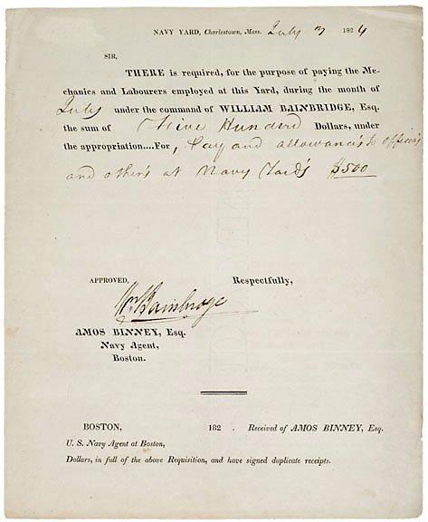 2004: William Bainbridge Signed Document, 1824
