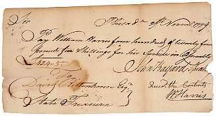 John Bayard Signed Document 1779