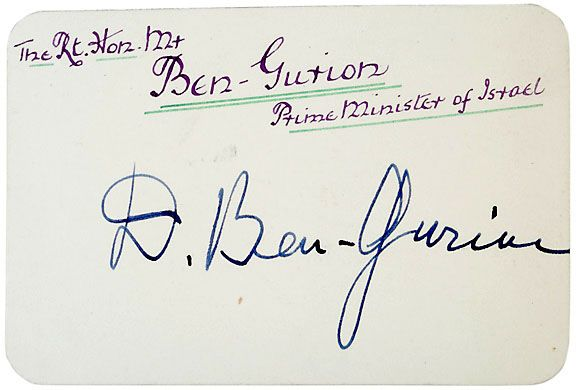David Ben-Gurion Signed Card