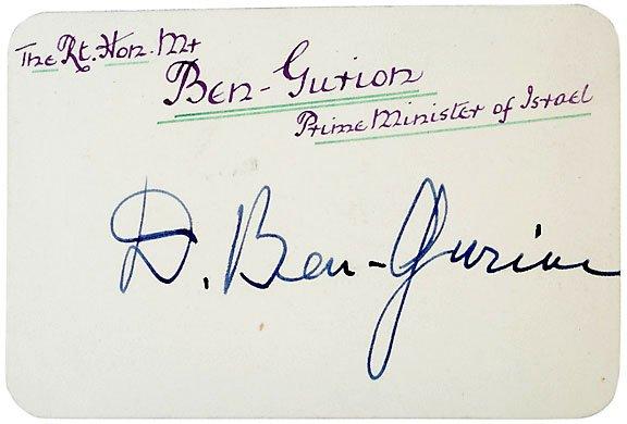 2006: David Ben-Gurion Signed Card