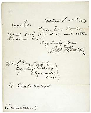 Benjamin Butler Signed Note 1873